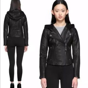 Mackage keegan leather moto jacket with hood